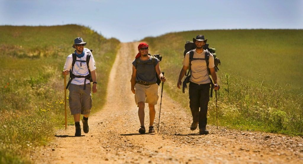 Camino pilgrims during the best guided tours of Spain